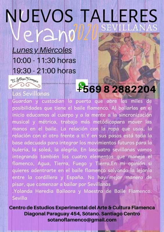 Taller de sevillanas flamencas lunes y miércoles 10:00 - 11:30 horas 19:30 - 21:00 horas sevillanas  guardan y custodian la puerta que abre las miles de posibilidades que tiene el baile flamenco.  al bailarlas en el inicio educamos al cuerpo y a la mente a