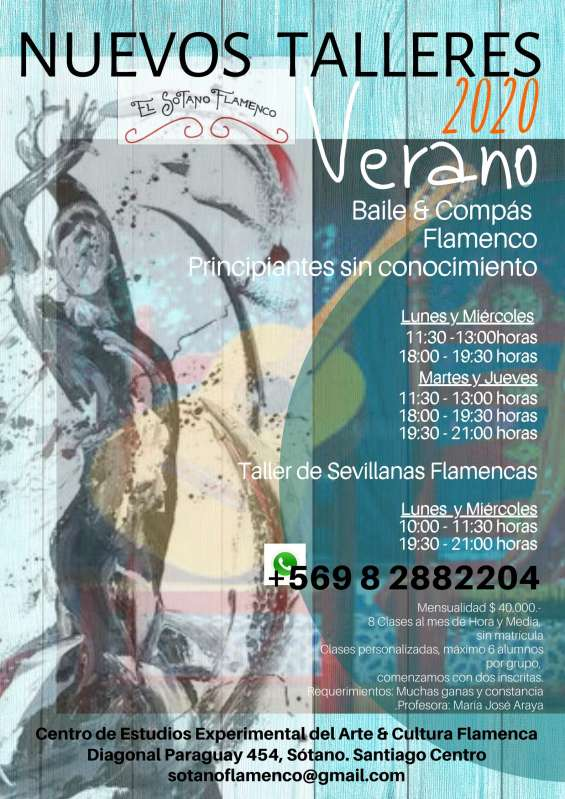 Talleres verano 2020 te esperamos!!!!! baile y compás flamenco para principiantes enero y febrero  lunes y miércoles *  11:30 - 13:00 horas *  18:00 - 19:30 horas   martes y jueves *  11:30 - 13:00 horas *  18:00 - 19:30 horas *  19:30 - 21:00 horas