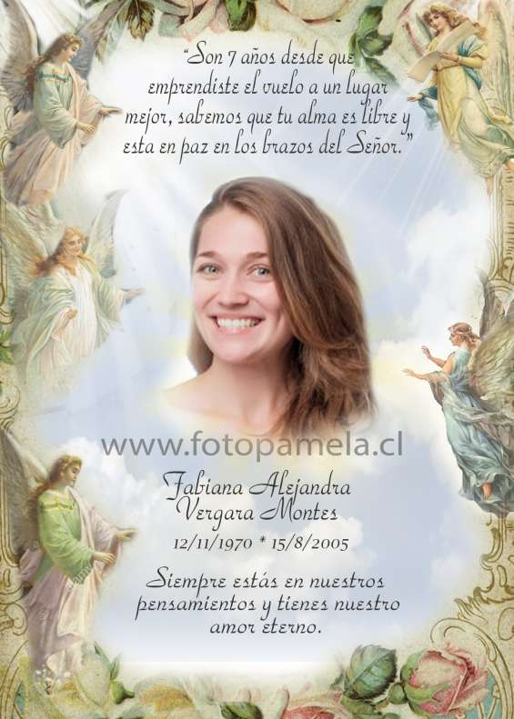 Tarjeta defuncion, condolencias con foto personalizada