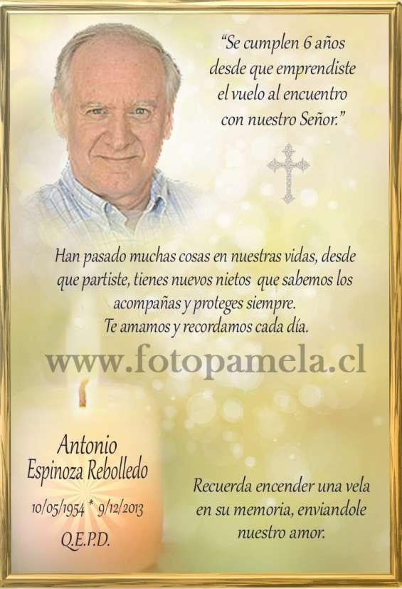 Tarjetas personalizadas con foto defuncion condolencias